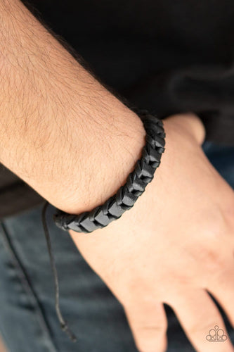Paparazzi: Grit and Grease - Black Leather Band Bracelet