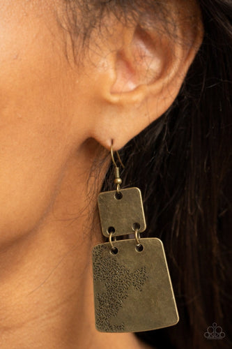 Paparazzi Accessories: Tagging Along - Brass Earrings