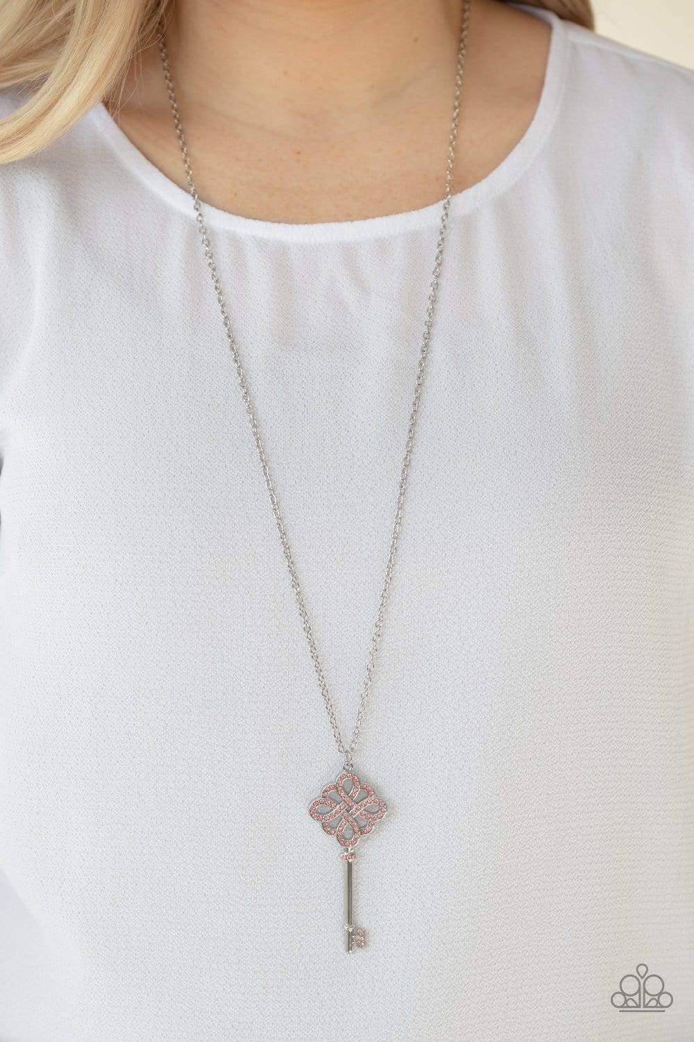 Paparazzi: Unlocked - Pink Rhinestones Necklace - Jewels N' Thingz Boutique