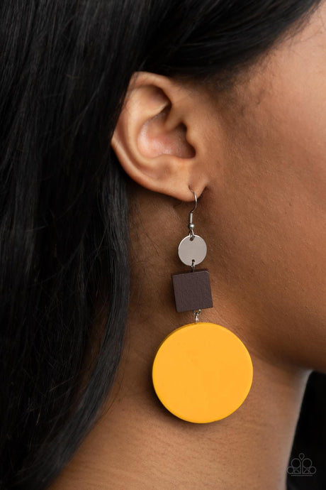 Paparazzi Accessories: Modern Materials - Yellow/Brown Wooden Earrings
