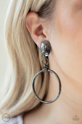 Jumping Through Hoops - Black Clip-On Earrings: Paparazzi