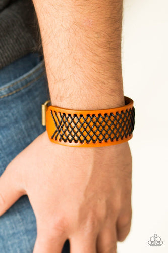 Paparazzi: Cross The Line - Brown Leather-Like Bracelet