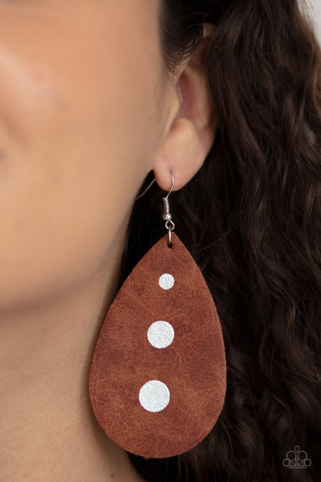 Paparazzi Accessories: Rustic Torrent - Brown Leather Earrings