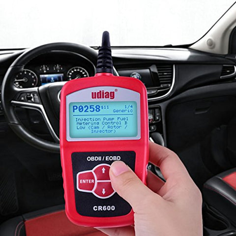 Obd2 Scanner, Udiag Cr600 Auto Scanner Read Live Data And Clear Error Code  For Universal Obd2 Protocol Vehicle - Red