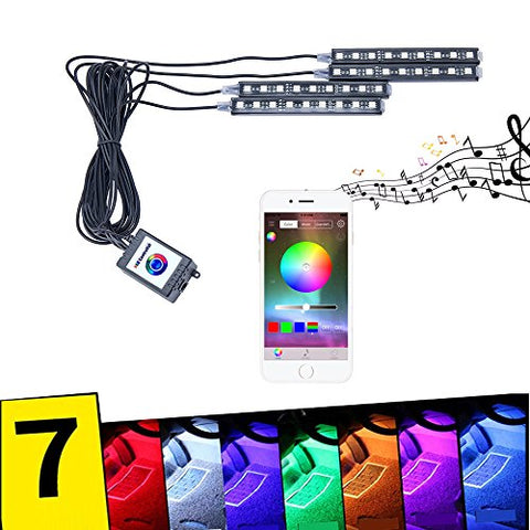 Yijinsheng 4Pcs 9 Led Phone App Control Mult Color Remote Control Car Led  Interior Lights Atmosphere Neon Lights Kit With Sounds Activated Function