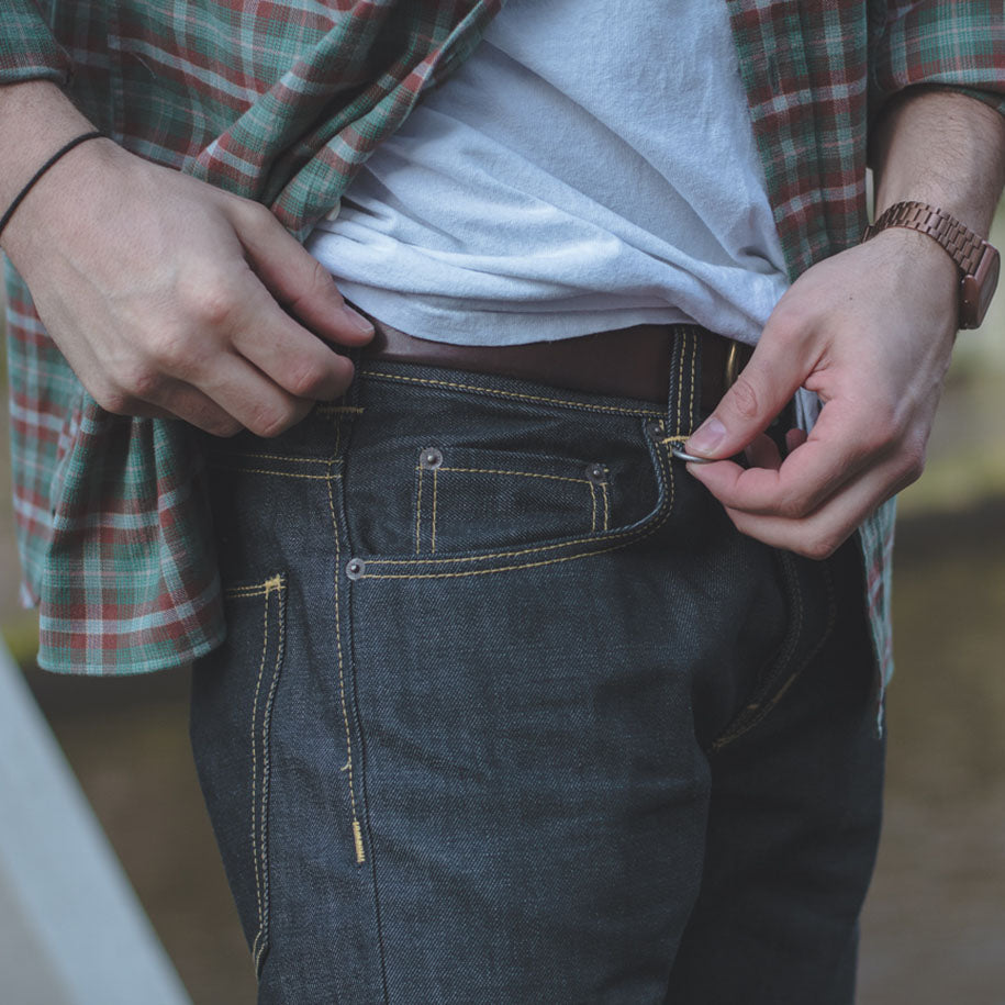 Rugged raw selvedge denim