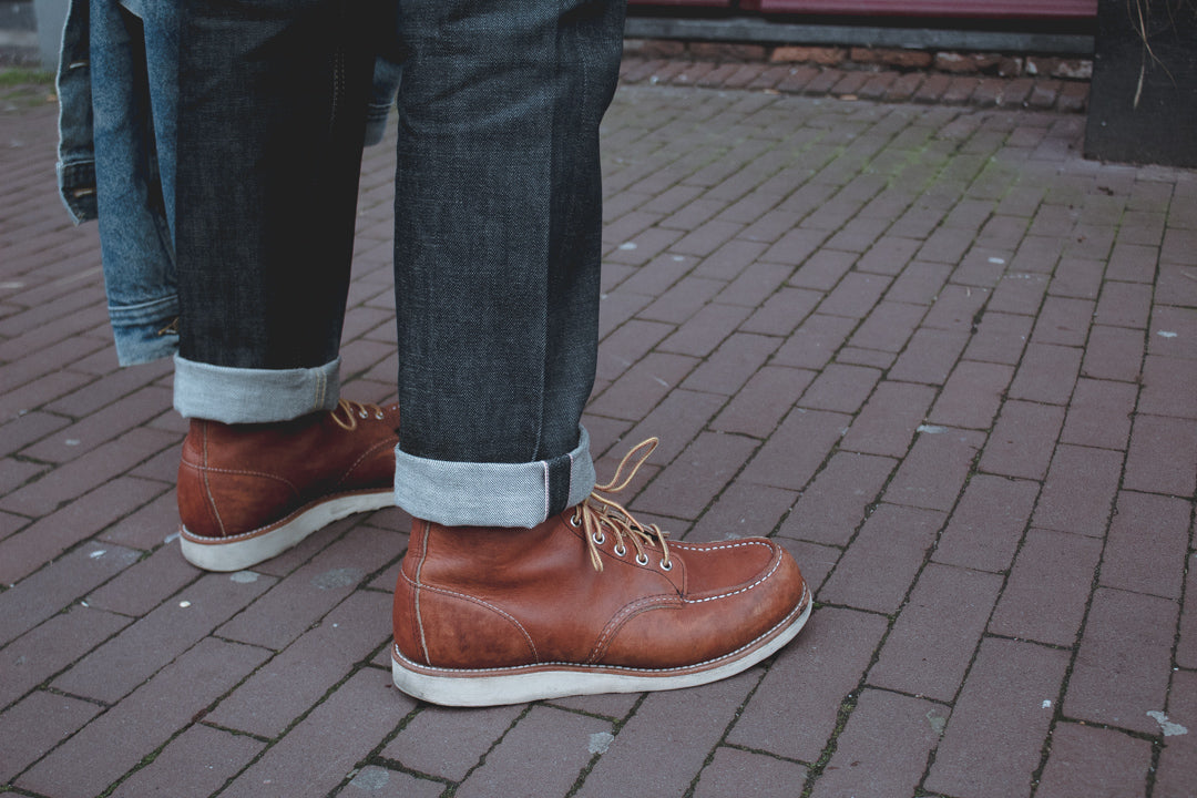 selvedge denim and red wing boots