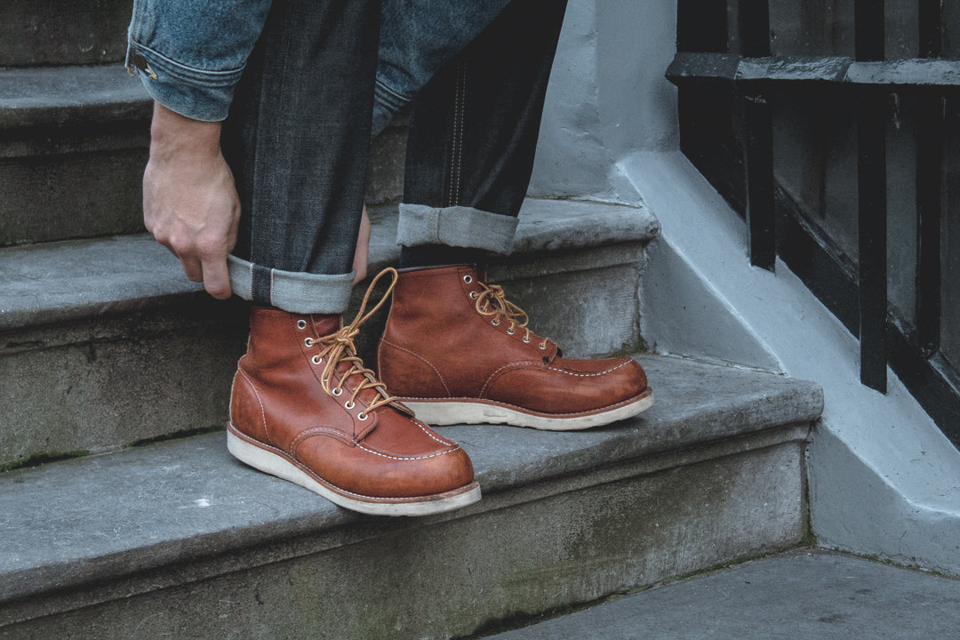 red wing moc toe boots and selvedge denim