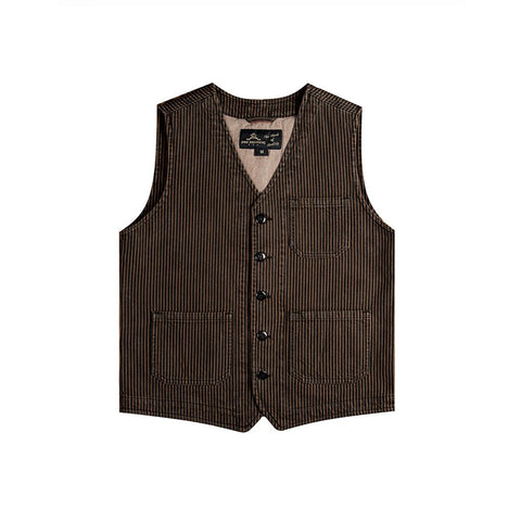 1937 Roamer Vest Hickory Stripe Brown