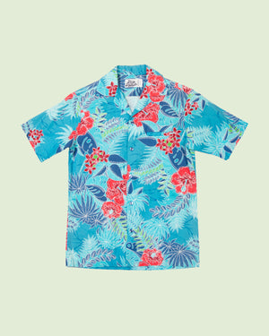 Hawaii Shirt Hilo Hatti blue with red flowers (S)