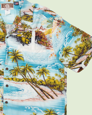 Hawaii Shirt Kalaheo blue beach (M)