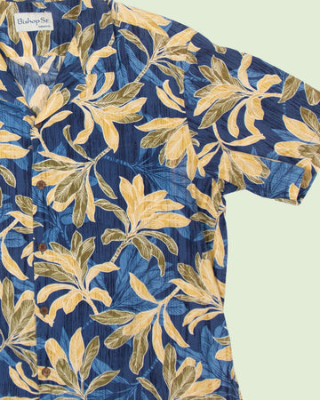 Hawaii Shirt Bishop Street blue yellow (L)