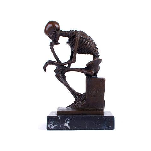 Bronze Thinker Skeleton Sculpture