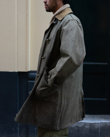 'Peas' Artillery Waxed Long Coat (L)