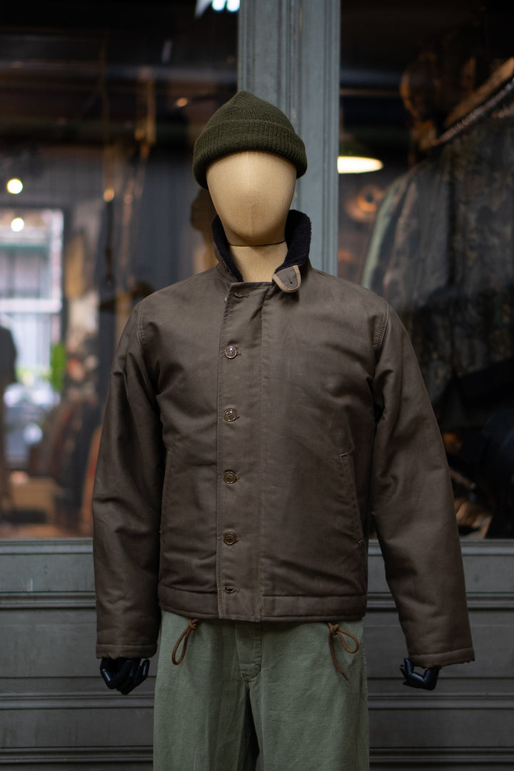 1944 N-1 Deck Jacket Waxed Khaki Brown