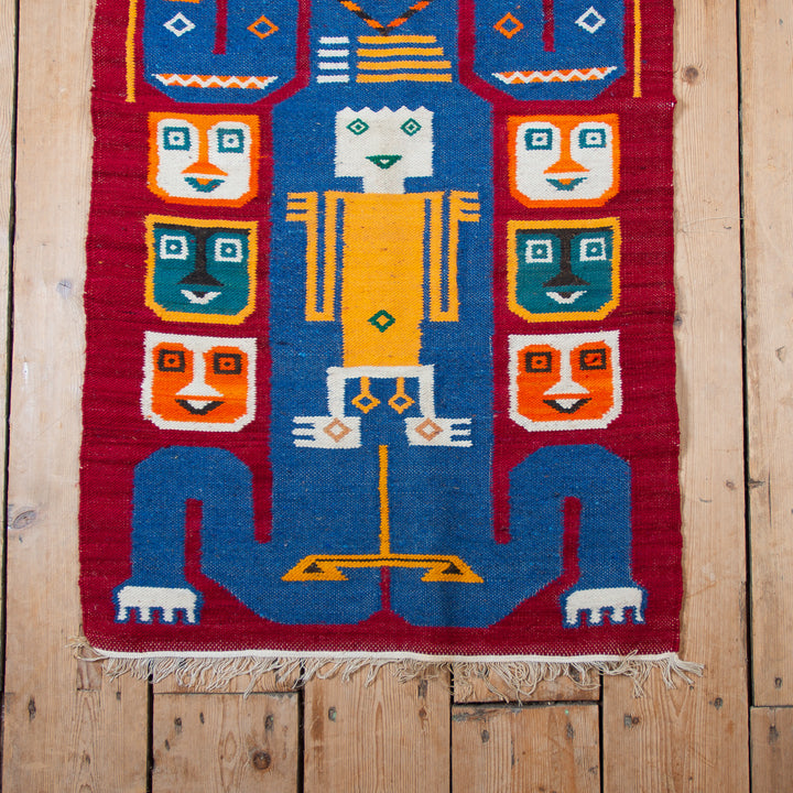 Pictoral Wool Rug Red