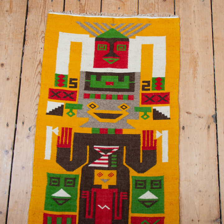 Pictoral Wool Rug Yellow