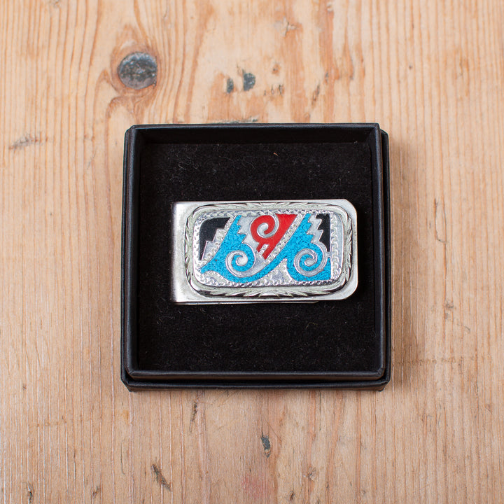 Turquoise Red and Black Money Clip