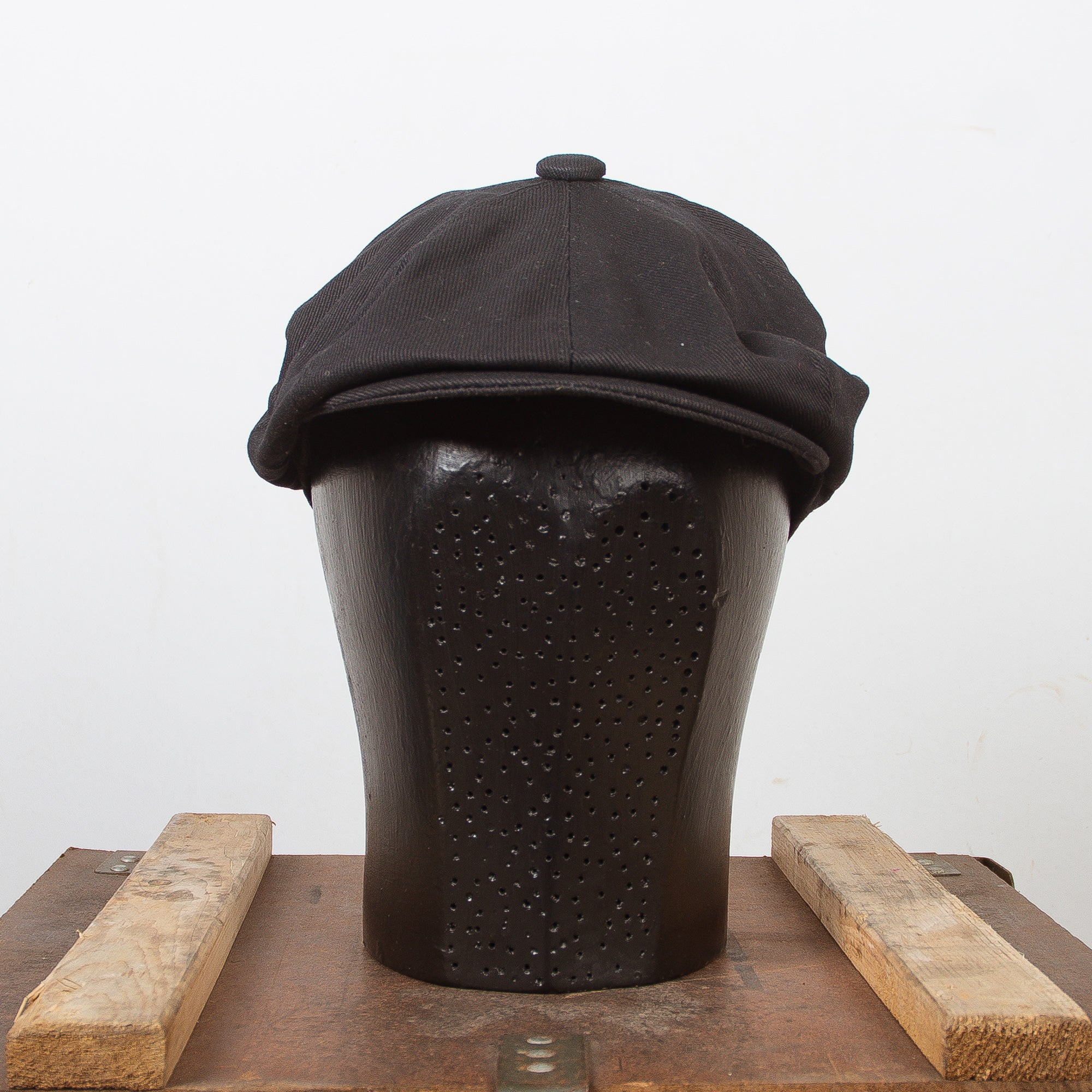 Newsboy Cap Black Cotton