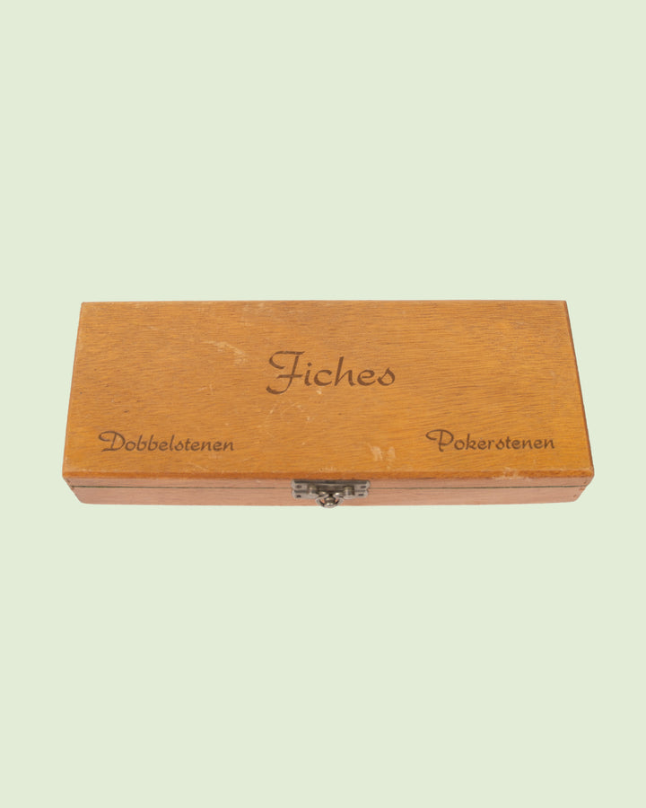 Wooden Box with Dice and Chips