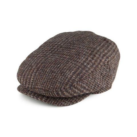 Flat Cap Brown Black Wool