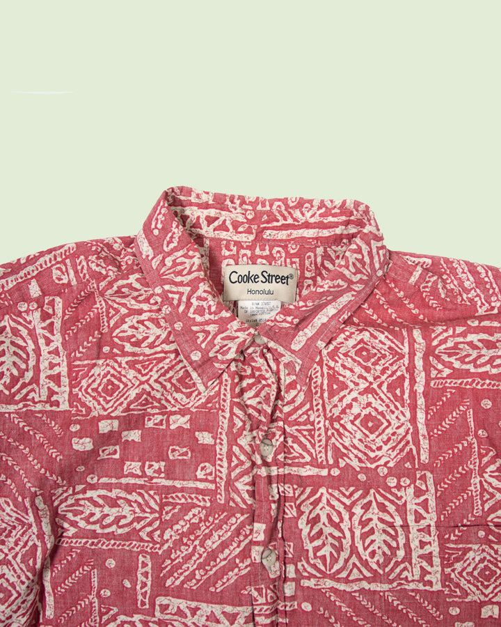 Hawaii Shirt Cooke St. Red White Flowers (XXL)