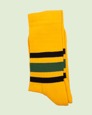 Heritage 9.1 Rucker Yellow Green and Black Stripe Socks