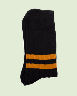 Heritage 9.1 Black Double Ochre Stripe Socks
