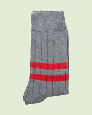 Heritage 9.1 Grey Double Red Stripe Socks