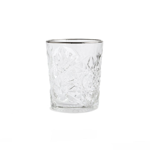Hobstar Glass Silver Rim