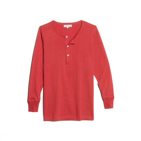 206 Henley Long Sleeve Red