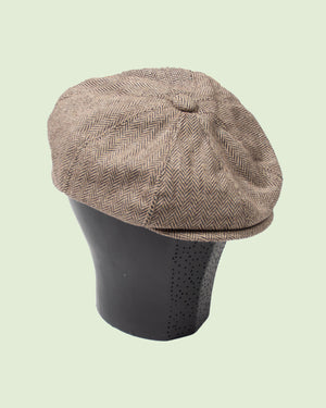 Newsboy Cap Brown Wool Poly Mix