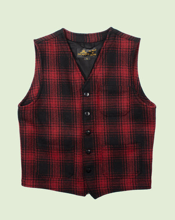 1937 Roamer Vest Red Check Wool