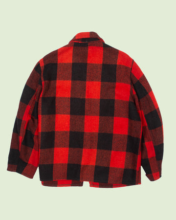 Red Checkered Plaid Wool Jacket (L)