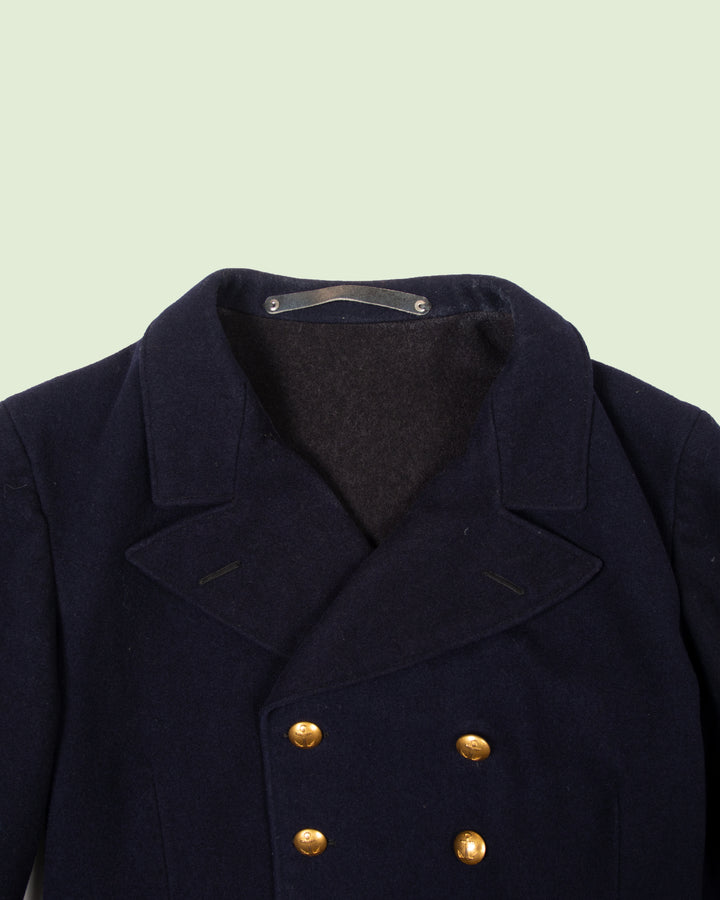Swedish Navy Wool Coat (M)