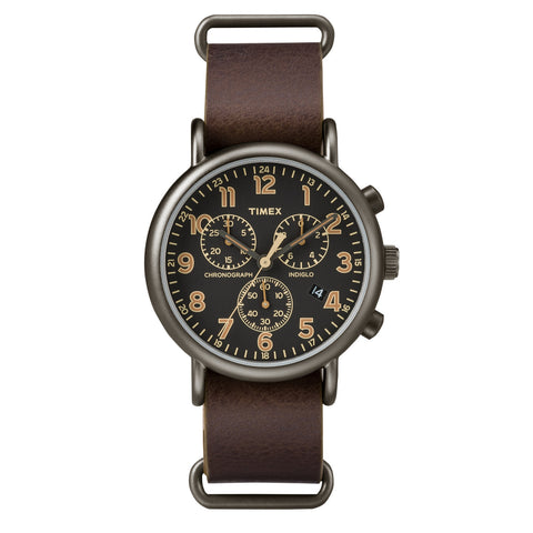 Timex Weekender Chrono Black Dial Brown Strap