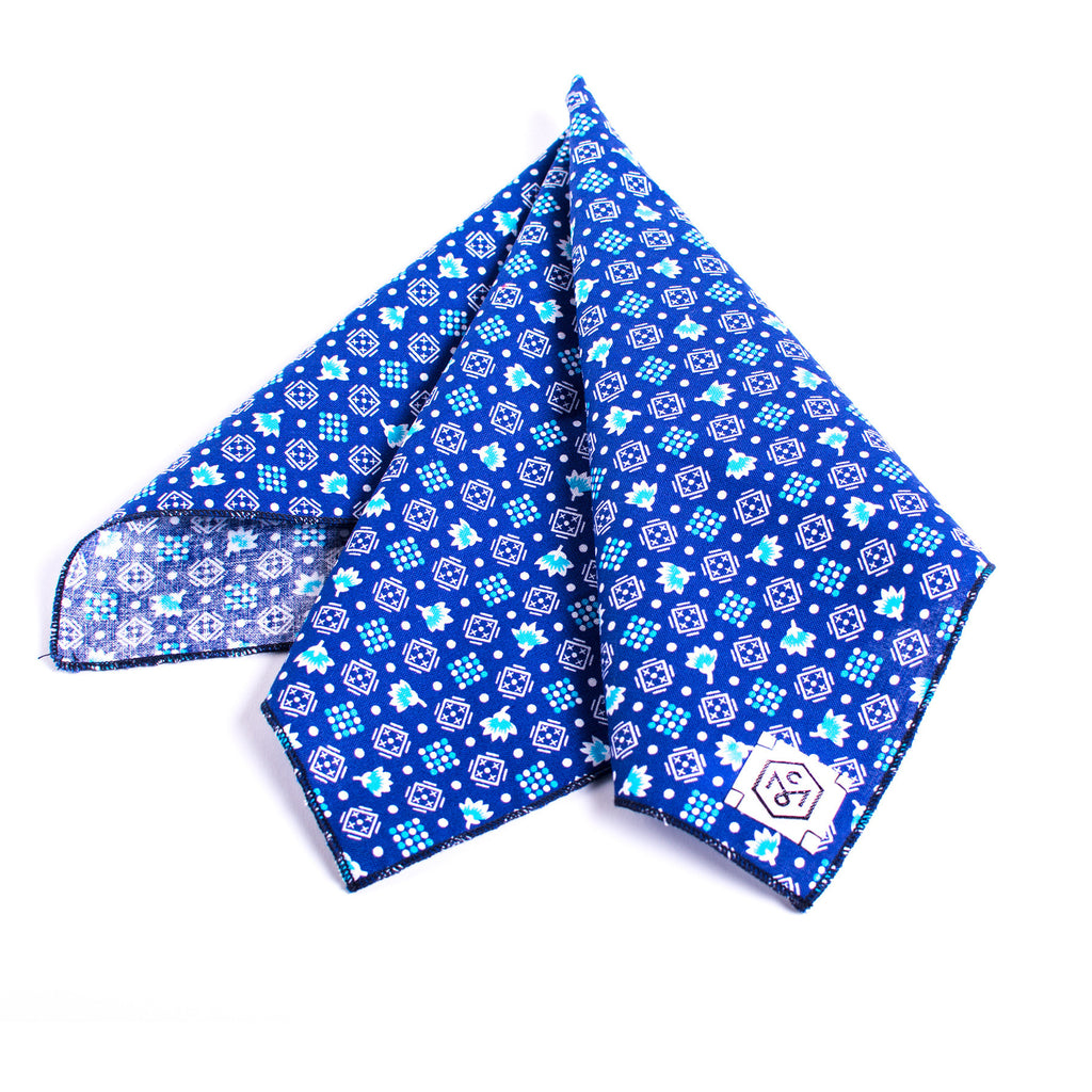 Handkerchief Blue Figures