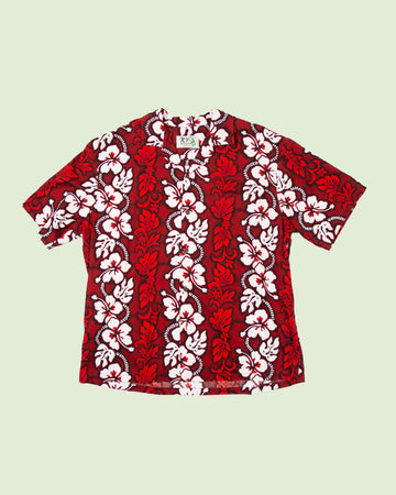 Hawaii Shirt KY'S red white flowers (XXL)