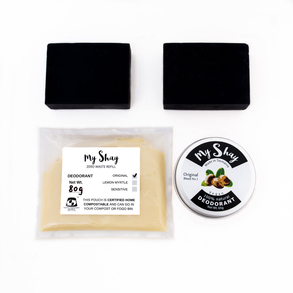 Zero Waste Natural Deodorant Starter Kit / Original / Charcoal Soap