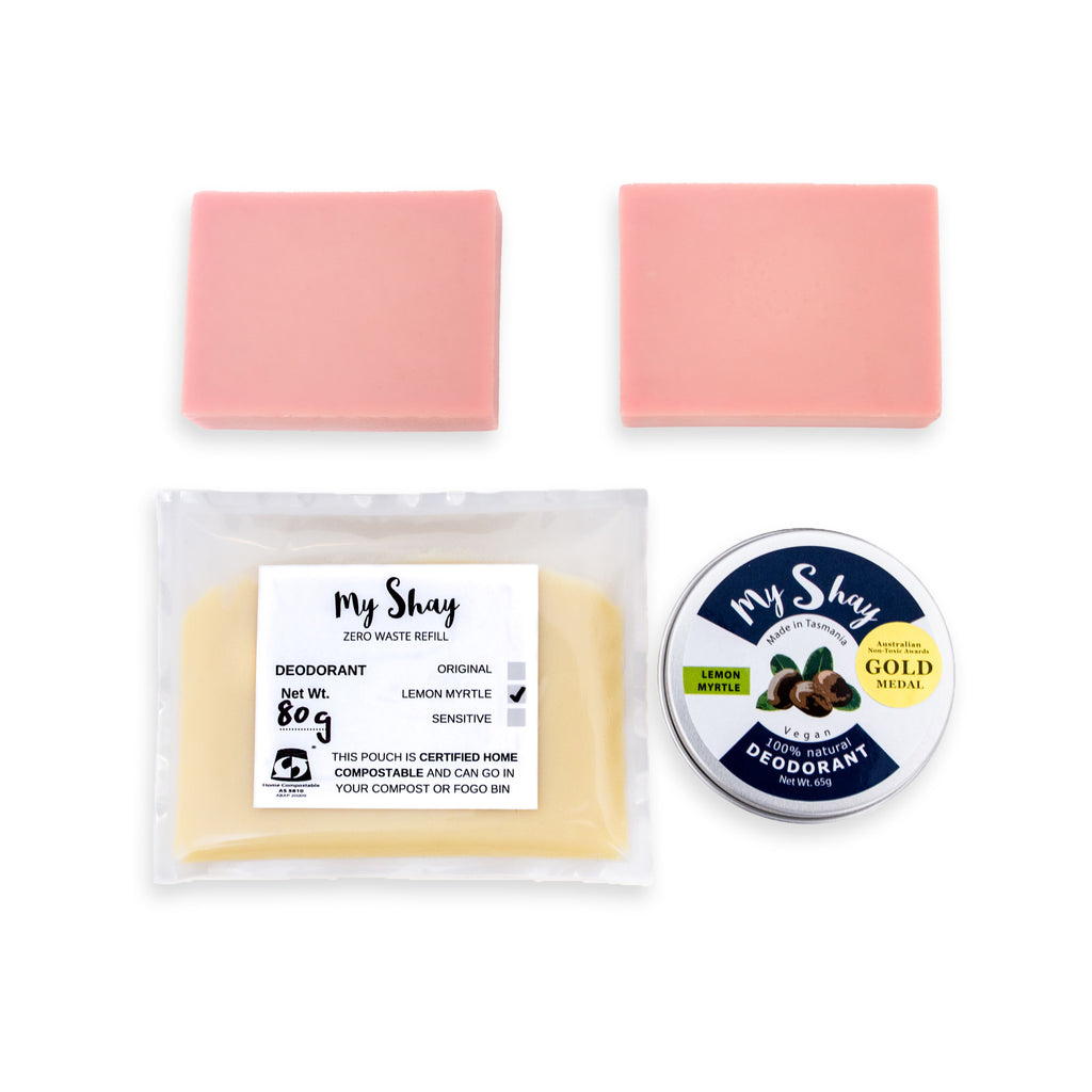 Zero Waste Natural Deodorant Starter Kit / Lemon Myrtle / Australian Pink Clay Soap