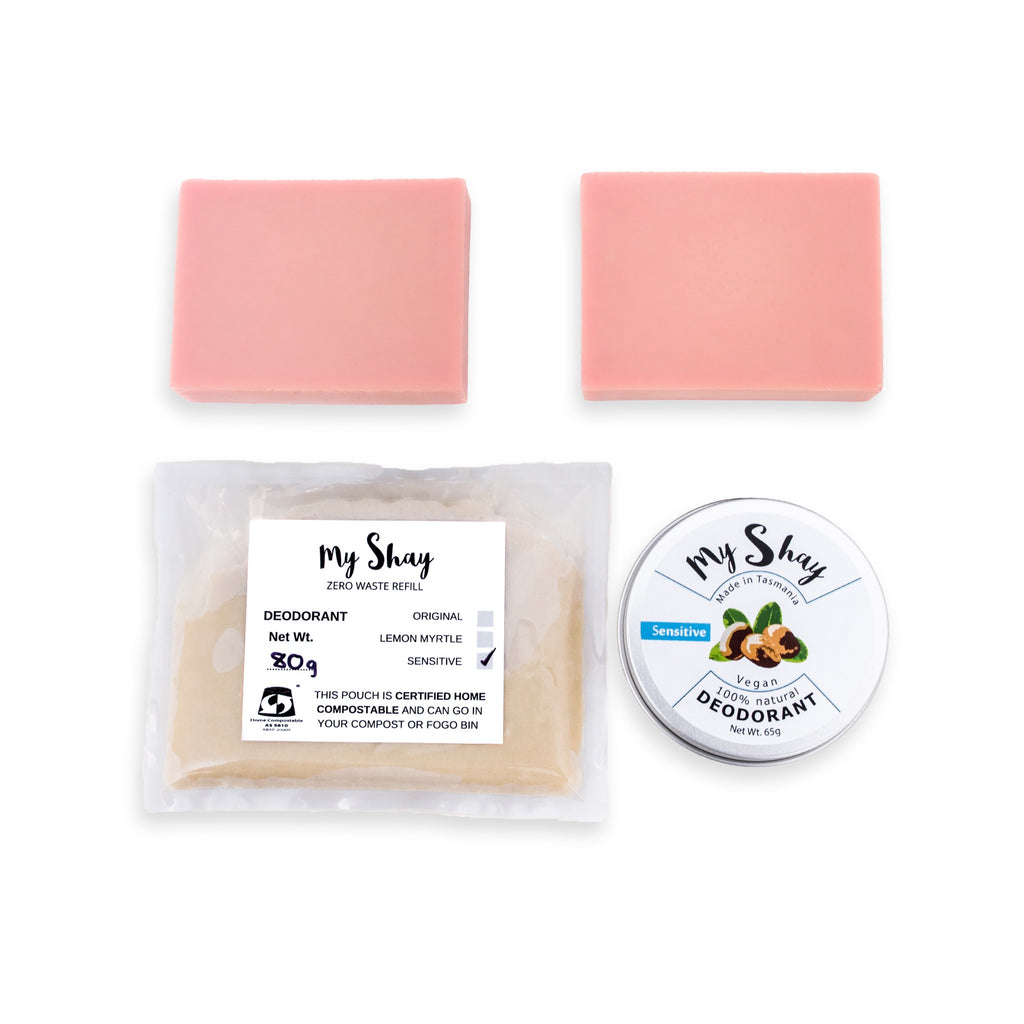 Zero Waste Natural Deodorant Starter Kit / Sensitive / Pink Clay Soap