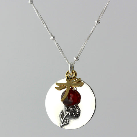Sunflower & Garnet Charm Necklace