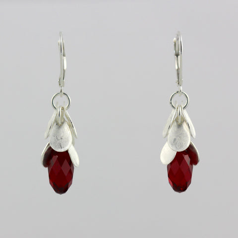 Cascading Red Crystal Earrings