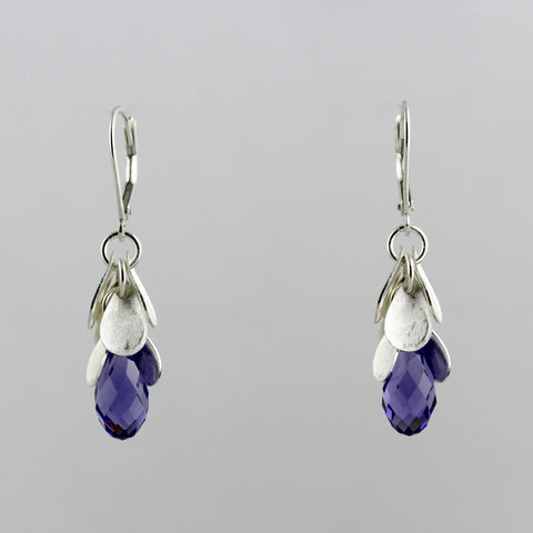 Cascading Purple Crystal Earrings