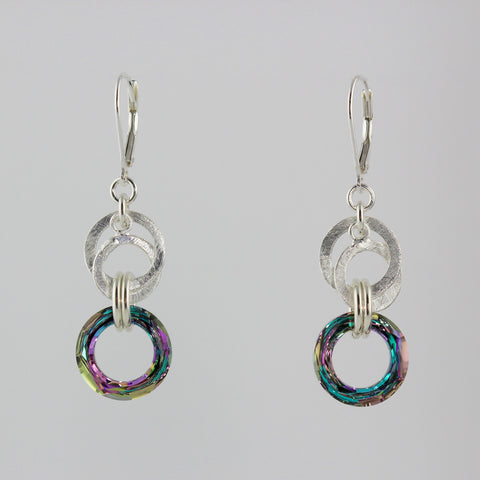 Double Silver Circle Lilac Crystal Earrings