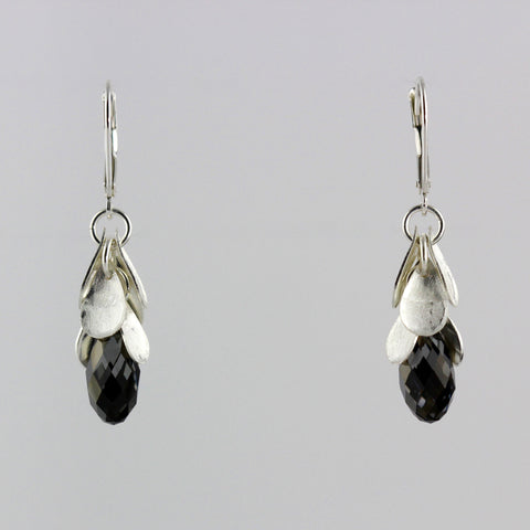 Cascading Midnight Black Crystal Earrings