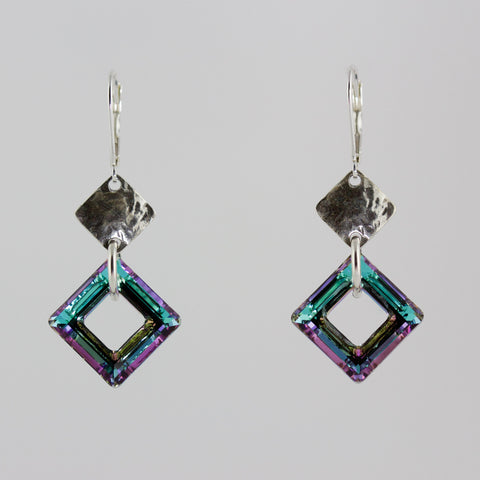 Double Dimond Shape Lilac Crystal Earrings