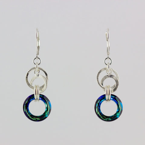 Double Silver Circle Ocean Crystal Earrings