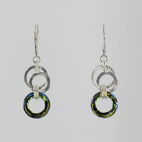 Double Silver Circle Green Tea Crystal Earrings