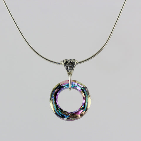 Lilac Crystal Circle Necklace